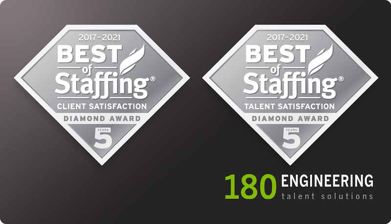 180 Engineering Wins ClearlyRated's 2021 Best of Staffing Client and Talent Diamond Awards